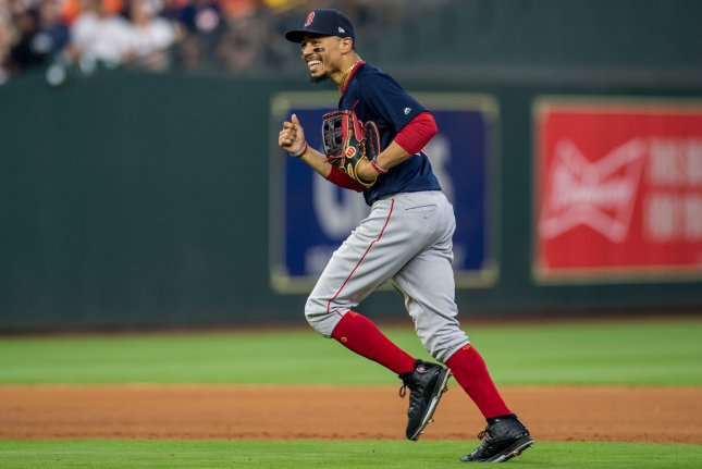 Boston Red Sox outfielder Mookie Betts' (pictured) deal breaks the arbitration record of $26 million, set by Colorado Rockies star third baseman Nolan Arenado last off-season. File Photo by Trask Smith/UPI