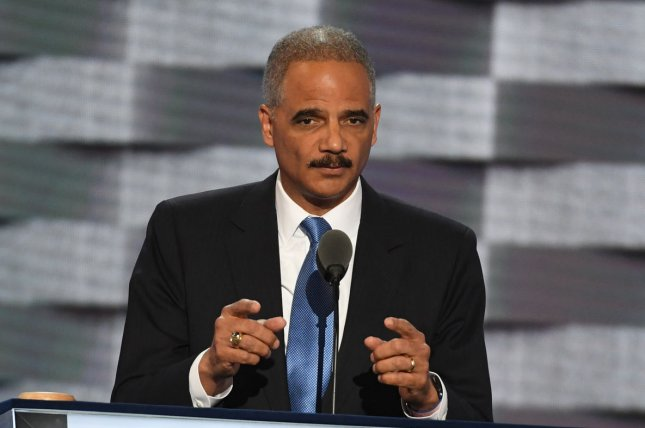Former U.S. Attorney General Eric Holder speaks on Day 2 of the Democratic National Convention at the Wells Fargo Center in Philadelphia on July 26, 2016. He turns 70 on January 21. File Photo by Pat Benic/UPI