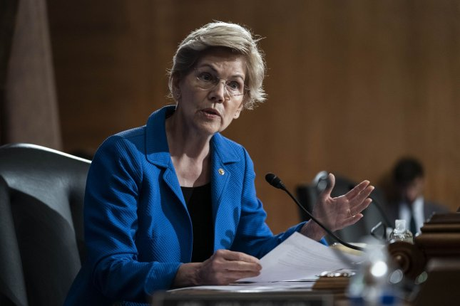 Senator Elizabeth Warren questions Federal Reserve Board Chairman Jerome Powell during on Capitol Hill in Washington, D.C. File Photo by Sarah Silbiger/UPI