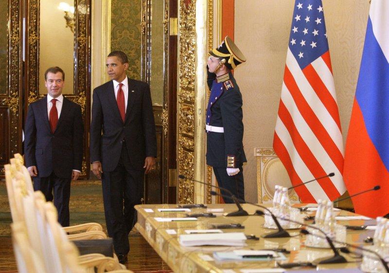 U.S. President Barack Obama and Russian President Dmitry Medvedev (L) walk before their meeting in the Kremlin in Moscow on July 6, 2009. (UPI Photo/Anatoli Zhdanov)