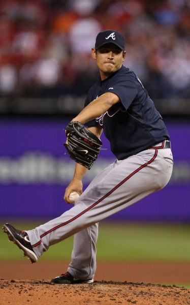 Atlanta Braves starting pitcher Kenshin Kawakami delives a pitch to the St. Louis Cardinals in the second inning at Busch Stadium in St. Louis on April 28, 2010. UPI/Bill Greenblatt