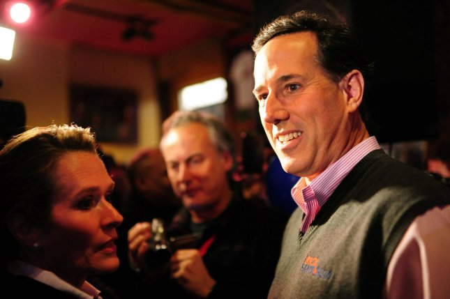 Republican presidential candidate Rick Santorum sporting his signature vest while campaigning in New Hampshire last week. UPI/Kevin Dietsch