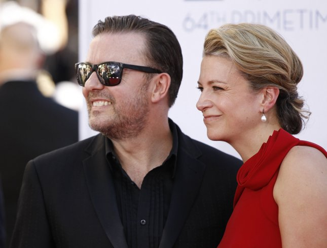 Actor Ricky Gervais and Jane Fallon arrive for the the 64th Primetime Emmys at the Nokia Theatre in Los Angeles on September 23, 2012. UPI/Danny Moloshok