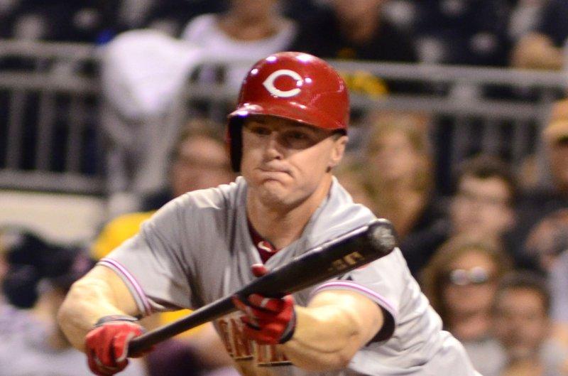 Cincinnati Reds right fielder Jay Bruce (32). UPI/Archie Carpenter