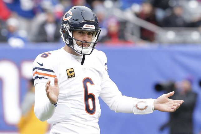 Chicago Bears' Jay Cutler reacts after a holding call on the offense in the second quarter against the New York Giants in week 11 of the NFL season at MetLife Stadium in East Rutherford, New Jersey on November 20, 2016. File photo by John Angelillo/UPI