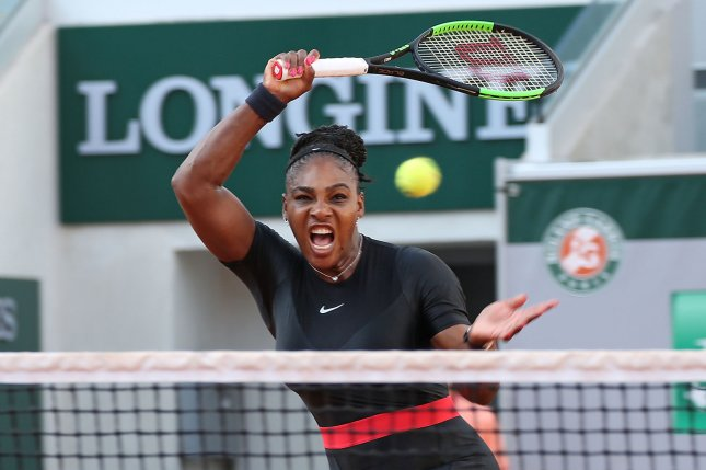 American Serena Williams hits a shot during her French Open women's third round match against Julia Goerges of Germany at Roland Garros on June 2 in Paris. Photo by David Silpa/UPI