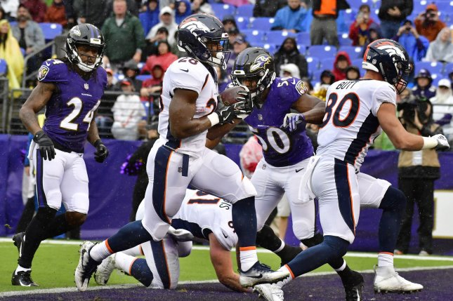 Denver Broncos running back Royce Freeman (28) scores a six yard touchdown against the Baltimore Ravens during the first half of an NFL game on September 23 at M&T Bank Stadium in Baltimore. Photo by David Tulis/UPI