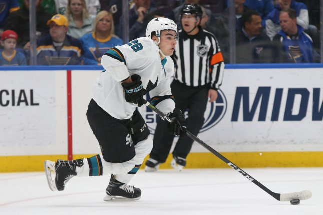 Timo Meier and the San Jose Sharks take on the Dallas Stars on Thursday. Photo by Bill Greenblatt/UPI