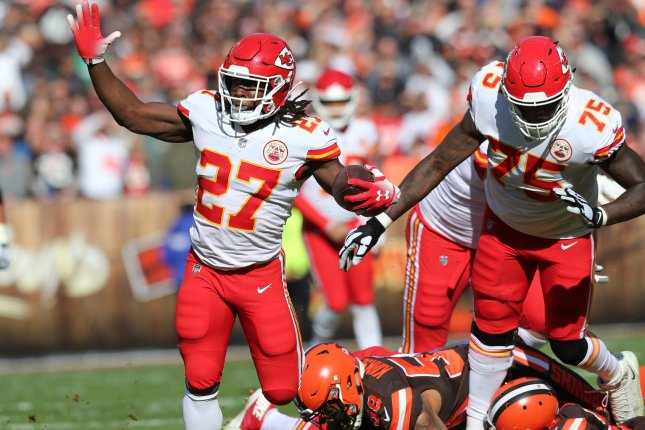 Former Kansas City Chiefs running back Kareem Hunt had 1,202 yards from scrimmage and 14 touchdowns in 11 games this season before being released in December. File Photo by Aaron Josefczyk/UPI