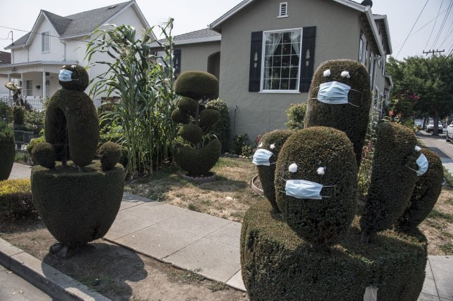 Topiaries in front of a home in San Mateo, Calif., are pictured on August 22, portrayed as masked characters amid the coronavirus pandemic. Photo by Terry Schmitt/UPI