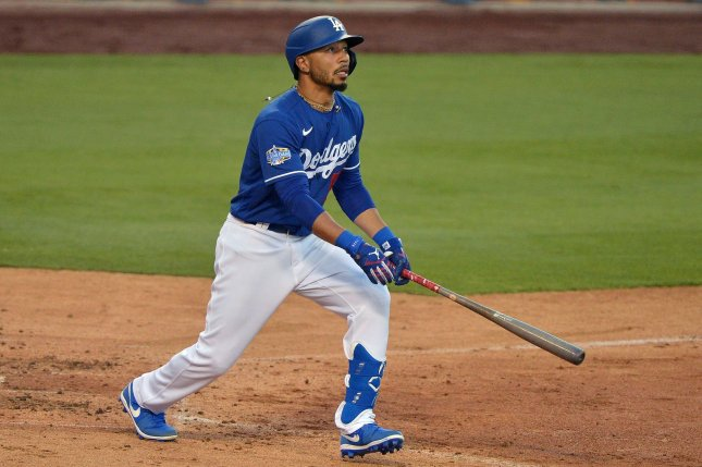 Los Angeles Dodgers outfielder Mookie Betts (pictured), Atlanta Braves first baseman Freddie Freeman and San Diego Padres third baseman Manny Machado are finalists for the 2020 National League MVP award. File Photo by Jim Ruymen/UPI