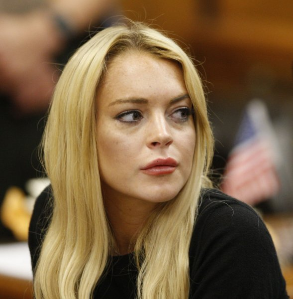 25578150 Actress Lindsay Lohan appears in court during a probation status hearing  relating to her August 2007 no contest pleas to two counts each of DUI and  being ...