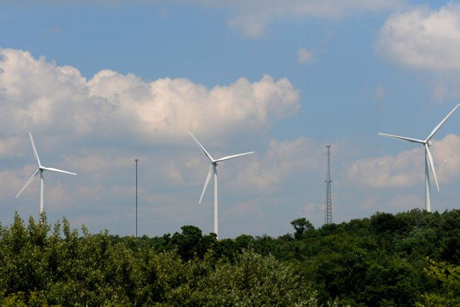 Three of six wind turbines of the Somerset Wind Farm are shown on a mountain ridge on June 19, 2012 near Somerset, Pennsylvania. The wind farm has been operational since 2001 and the six GE 1.5 MW turbines produce enough electricity for 3,400 homes. Plans to develop a 30-turbine Shaffer Mountain Wind Farm nearby were scrapped on June 12, 2012 due to environmental and resident concerns. Wind power has expanded in the United States over the past decade and is now about 3 per cent of all electric power in the country. UPI/Pat Benic