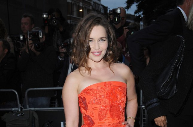 English actress Emilia Clarke attends the GQ Men Of The Year Awards at The Royal Opera House in London on September 8, 2015. Clarke has now been named Esquire's Sexist Woman Alive for 2015. File Photo by Paul Treadway/UPI.