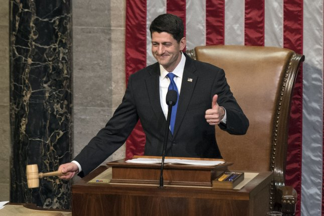 House Speaker Paul Ryan, R-Wis., seen here holding the gavel as he is re-elected as Speaker of the House at the opening of the 115th Congress on January 3, on Thursday said Congress will not establish a deportation task force -- a proposal Donald Trump raised during a speech in August. Photo by Kevin Dietsch/UPI