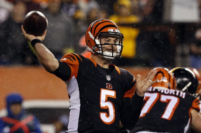 Cincinnati Bengals quarterback AJ McCarron (5) throws under pressure from the Pittsburgh Steelers defense during the first half of play in their NFL Wild Card Round game on January 9 at Paul Brown Stadium in Cincinnati, Ohio. File photo by John Sommers II/UPI