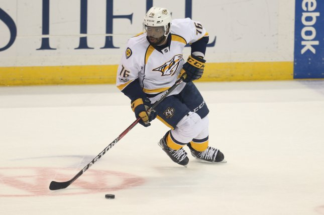 Nashville Predators' P.K. Subban brings the puck up ice in the second period. File photo by BIll Greenblatt/UPI