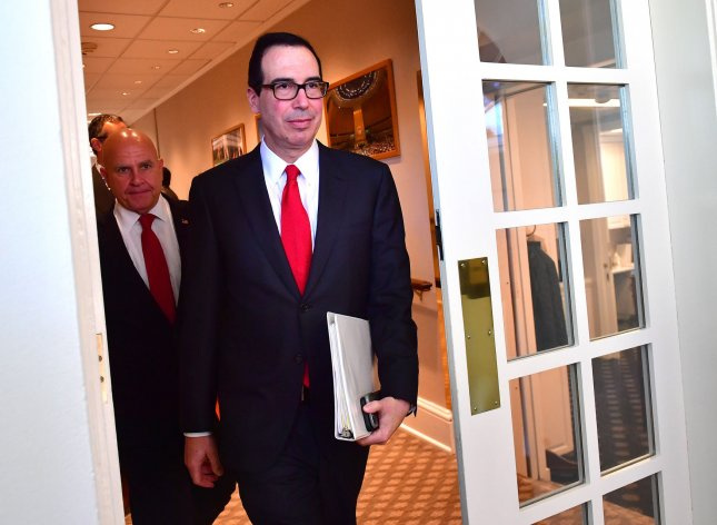 On Tuesday, Treasury Secretary Steve Mnuchin imposed sanctions on Iran to economically cripple a network that allegedly recruits child soldiers. File Photo by Kevin Dietsch/UPI