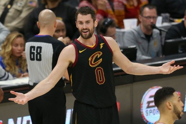 Cleveland Cavaliers power forward reacts to a call in a game against the Chicago Bulls last season. Photo by Aaron Josefczyk/UPI