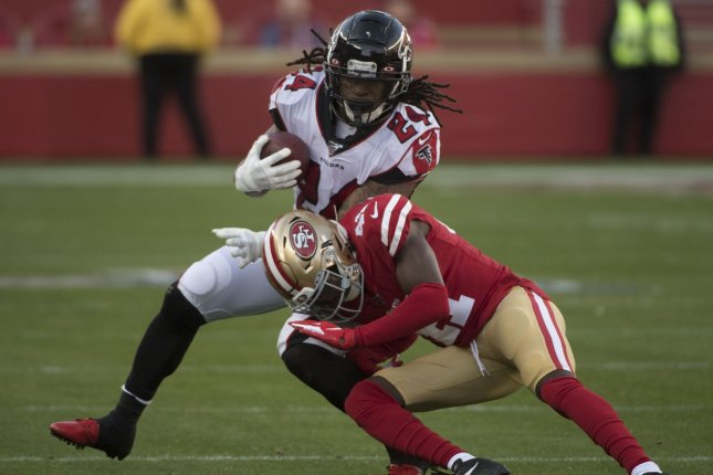 Atlanta Falcons running back Devonta Freeman (L) was released in March and now is in talks with the Seattle Seahawks. File Photo by Terry Schmitt/UPI