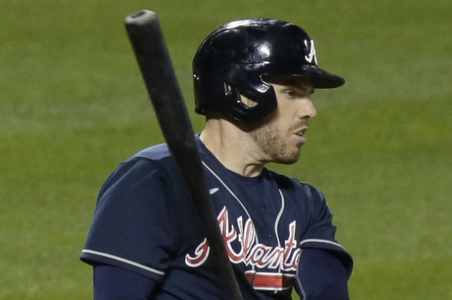 Atlanta Braves first baseman Freddie Freeman hit a first-inning home run during a win over the Los Angeles Dodgers on Monday in Arlington, Texas.  File Photo by John Angelillo/UPI