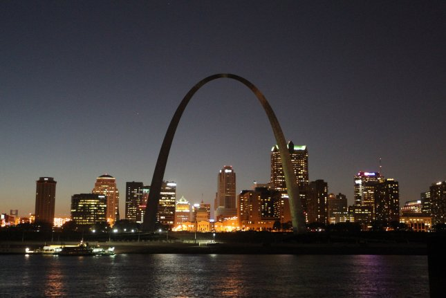 On October 28, 1965, workers installed the final piece of St. Louis' Gateway Arch, a 10-ton keystone. File Photo by Bill Greenblatt/UPI