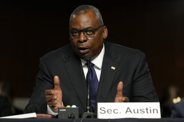 Defense Secretary Lloyd Austin speaksTuesday during a Senate armed services committee hearing on the military withdrawal in Afghanistan, on Capitol Hill in Washington, D.C. Pool Photo by Patrick Semansky/UPI