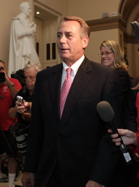 U.S. House Speaker John Boehner (R-OH) walks to his office after the House voting on debt limit on Capitol Hill in Washington on August 01, 2011. UPI/Yuri Gripas.