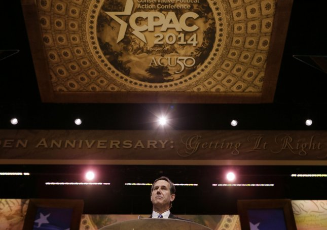 Former Senator and former presidential candidate Rick Santorum delivers remarks during the 2014 Conservative Political Action Conference (CPAC), on March 7, 2014 in National Harbor, Maryland. UPI/Molly Riley