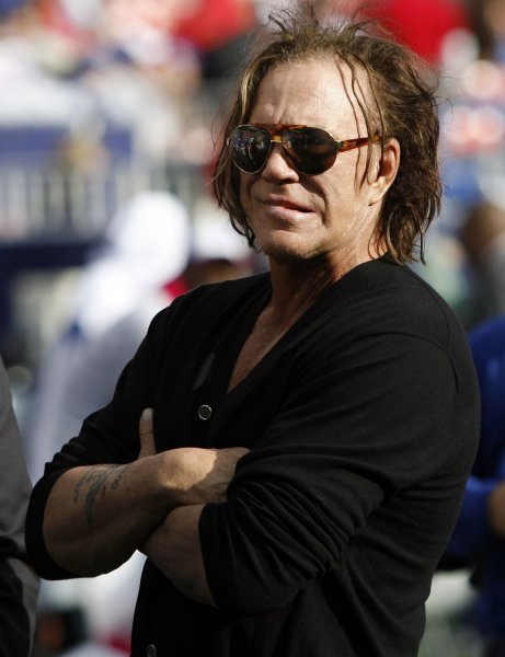 Mickey Rourke watches from the sidelines as the New York Giants play the Oakland Raiders in week 5 of the NFL season at Giants Stadium in East Rutherford, New Jersey on October 11, 2009. UPI /John Angelillo