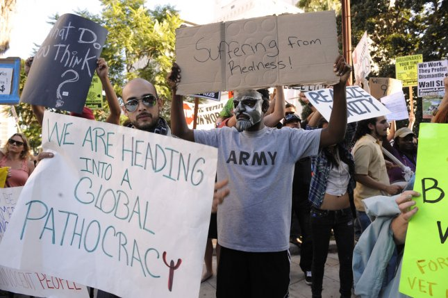 Occupy LA protesters participate in a march in solidarity with New York City's Occupy Wall Street protesters by gathering at city hall and marching through the financial district in Los Angeles, Oct. 3, 2011. UPI/Phil McCarten