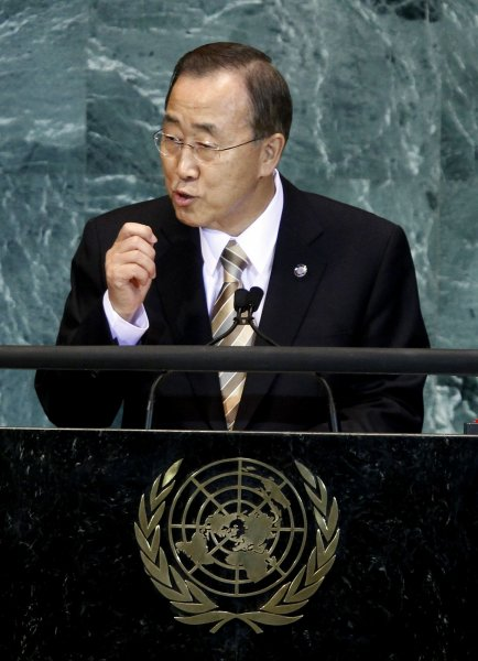 UN Secretary General Ban Ki-moon speaks speaks at at the 65th United Nations General Assembly in the UN building in New York City on September 23, 2010. UPI/John Angelillo