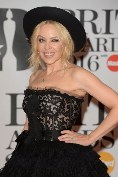 Kylie Minogue showed off her engagement ring at the Brit Awards on Wednesday. Photo by Rune Hellestad/UPI