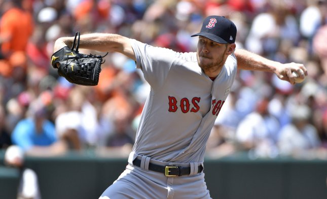 Chris Sale and the Boston Red Sox dropped a 4-1 decision to the Tampa Bay Rays on Thursday. Photo by David Tulis/UPI