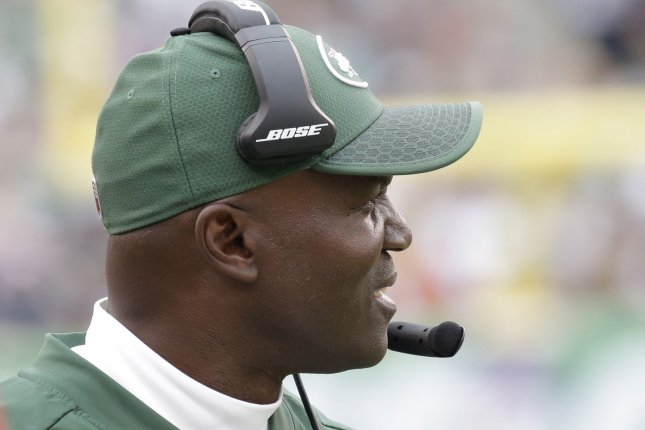 New York Jets head coach Todd Bowles stands on the sidelines in the second half against the New England Patriots in week 6 of the NFL at MetLife Stadium on October 15 in East Rutherford, N.J. Photo by John Angelillo/UPI
