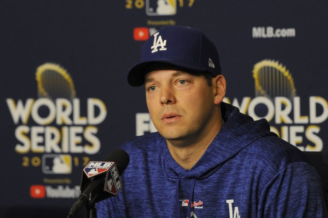 Los Angeles Dodgers pitcher for the World Series Game 2, Rich Hill, speaks to reporters in a press conference before Game 1 of the World Series against the Houston Astros on October 24 at Dodger Stadium in Los Angeles, Calif. Photo by Lori Shepler/UPI