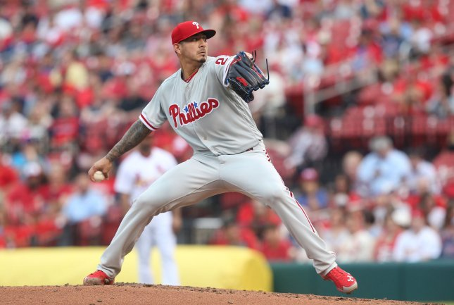 Vince Velasquez and the Philadelphia Phillies square off with the Milwaukee Brewers on Friday. Photo by Bill Greenblatt/UPI