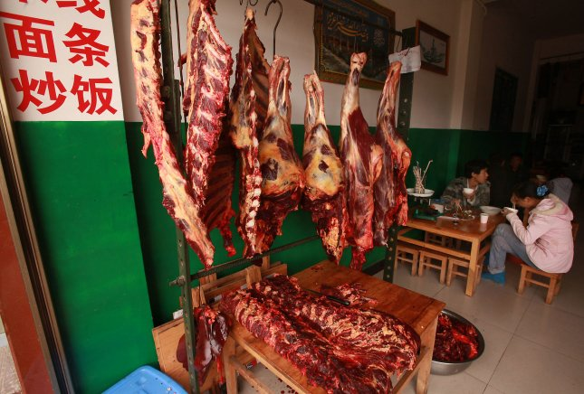China lifted a ban on British beef imports dating back to the BSE or mad cow disease outbreak in the 1990s on Wednesday. File Photo by Stephen Shaver/UPI