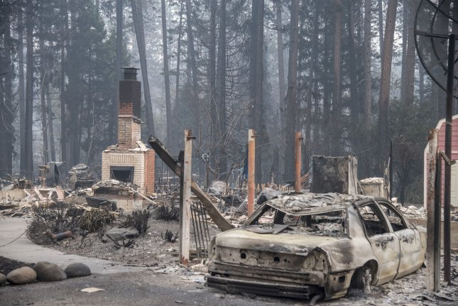 Residential portions of Paradise, Calif., lie in ruins on November 15 after a raging wildfire. File Photo by Terry Schmitt/UPI
