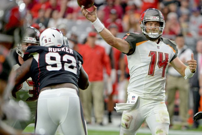 Veteran quarterback Ryan Fitzpatrick (14) has a new home for the 2019 season, as reports say the longtime quarterback is signing a two-year deal with the Miami Dolphins. File Photo by Art Foxall/UPI