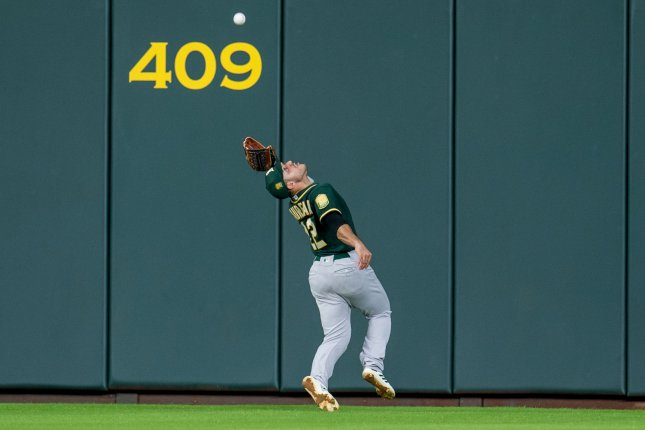 Oakland Athletics center fielder Ramon Laureano leads the American League with 21 putouts so for this season. He led American League center fielders with nine assists in 2018. File Photo by Trask Smith/UPI