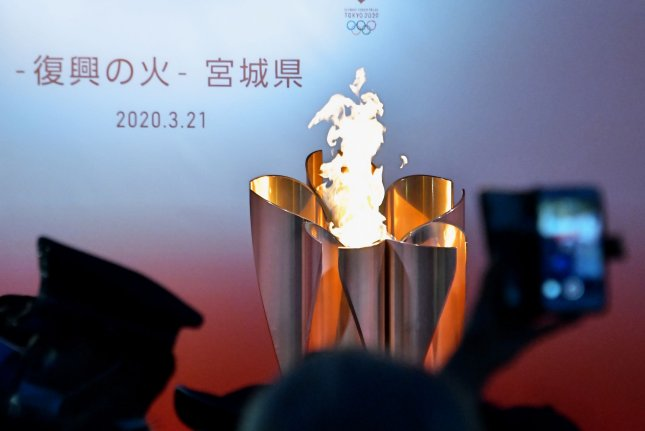 The Olympic Flame is seen in Sendai, Miyagi-prefecture, Japan, on Saturday. Photo by Keizo Mori/UPI