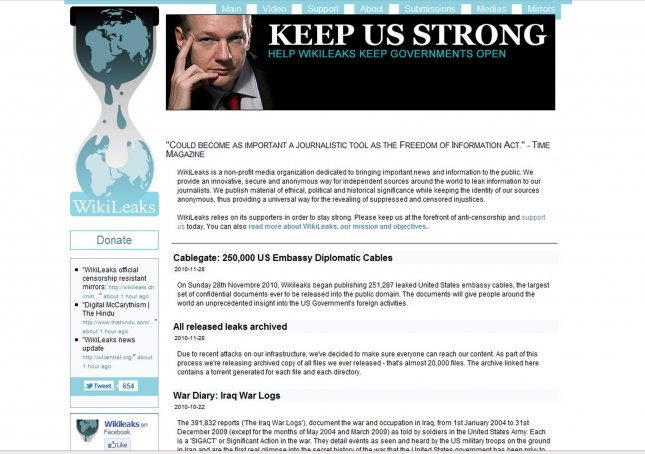 The Internet page showing WikiLeaks founder Julian Assange is displayed with a Swiss Internet 'ch' address Dec. 5, 2010. UPI