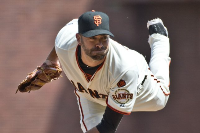 San Francisco Giants Jeremy Affeldt throws in relief against the Los Angeles Dodgers in the seventh inning at AT&T Park in San Francisco on April 23, 2015. The Giants defeated the Dodgers 3-2 in 10 innings. Photo by Terry Schmitt/UPI