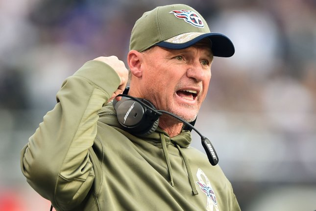 Former Tennessee Titans head coach Ken Whisenhunt reacts as the Titans play the Baltimore Ravens in the third quarter at M&T Bank Stadium in Baltimore, Maryland on November 9, 2014. The Ravens defeated the Titans 21-7. UPI/Kevin Dietsch