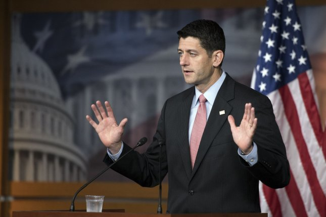 House Speaker Paul Ryan, R-Wis., addresses the media during his weekly Capitol Hill briefing. Ryan said GOP presidential nominee Donald Trump should release his taxes, as previous nominees have done, but that he will leave the timing of the release to Trump. Photo by Kevin Dietsch/UPI