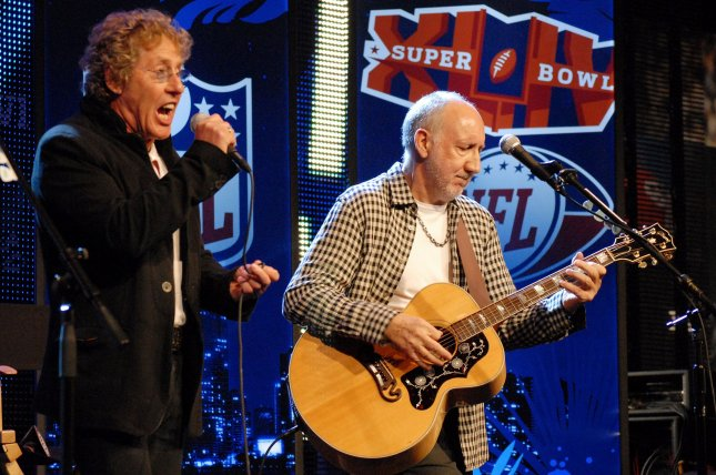 Pete Townshend and Roger Daltrey of The Who perform at a press conference in the days before the 2010 Super Bowl, where they played at halftime. The band is launching a concert series on YouTube this weekend. File Photo by Rob Hobson/UPI