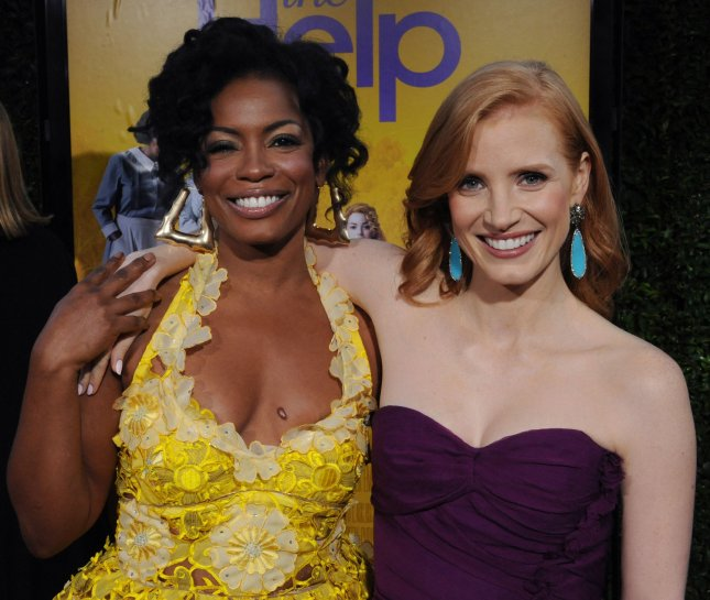 Aunjanue Ellis (L) and Jessica Chastain, cast members in the motion picture drama The Help, attend the premiere of the film at the Academy of Motion Picture Arts and Sciences in Beverly Hills, California on August 9, 2011. UPI/Jim Ruymen