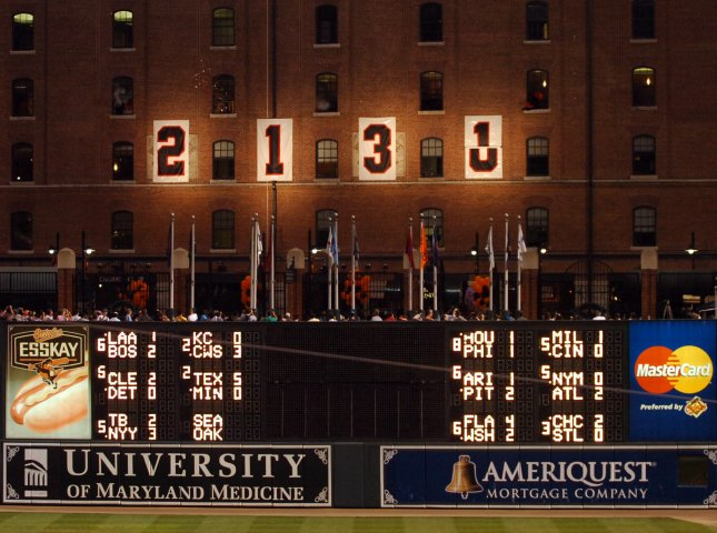 The numbers on the Camden warehouse wall are the same ones used when Ripken broke Lou Gehrig's record for consecutive games played back on September 5, 1995. The numbers were changed during a 10-year anniversary celebration of the night Ripken broke Lou Gehrig's record of playing in 2,130 straight games on September 6, 2005 at Orioles Park at Camden Yards in Baltimore, MD. Photo by Mark Goldman/UPI