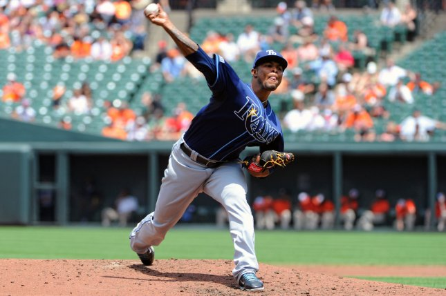 Alex Colome and the Tampa Bay Rays shut down the Cleveland Indians on Thursday. Photo by Mark Goldman/UPI